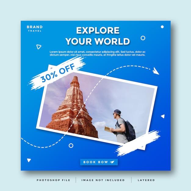 Publicación de viajes en redes sociales PSD Premium