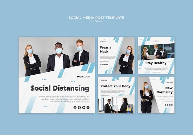Publicaciones de instagram de distanciamiento social PSD gratuito