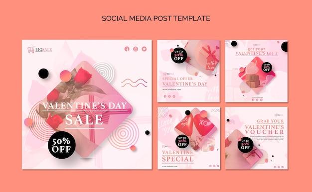 Publicaciones de instagram de san valentín con foto PSD gratuito