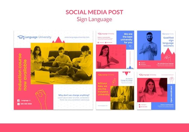 Publicaciones en redes sociales en lenguaje de señas PSD gratuito