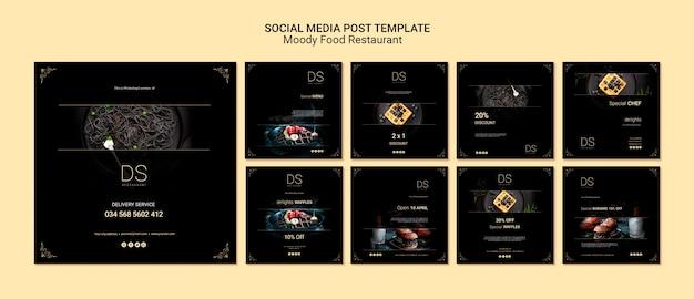 Publicaciones en redes sociales de moody food restaurant PSD gratuito