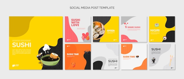 Publicaciones de redes sociales de restaurante asiático de sushi PSD gratuito