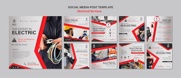 Publicaciones en redes sociales de servicios eléctricos PSD gratuito
