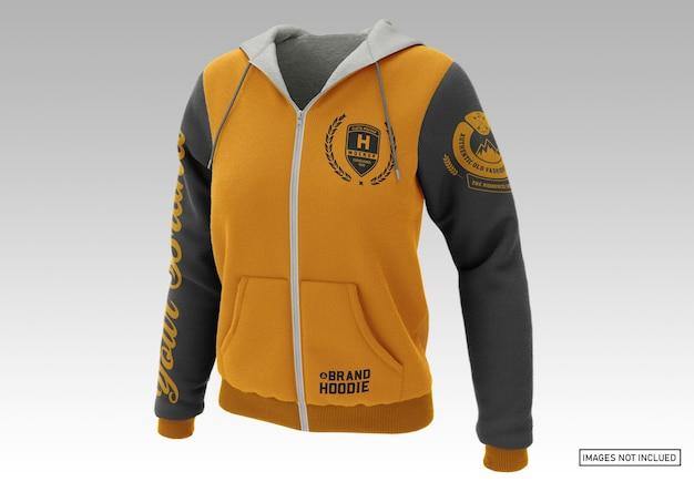Pullover hoodie - voorzijde half zijaanzicht Premium Psd