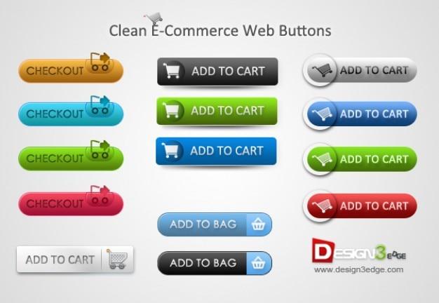 Pulsanti colorati e-commerce con carrelli Psd Gratuite