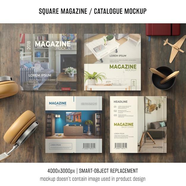 Quattro modelli quadrati di riviste o cataloghi con nature morte Psd Gratuite