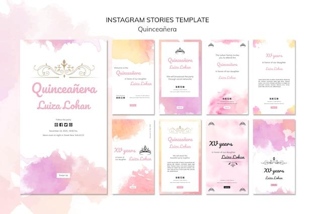 Quinceanera partij instagram verhalen sjabloon set Gratis Psd