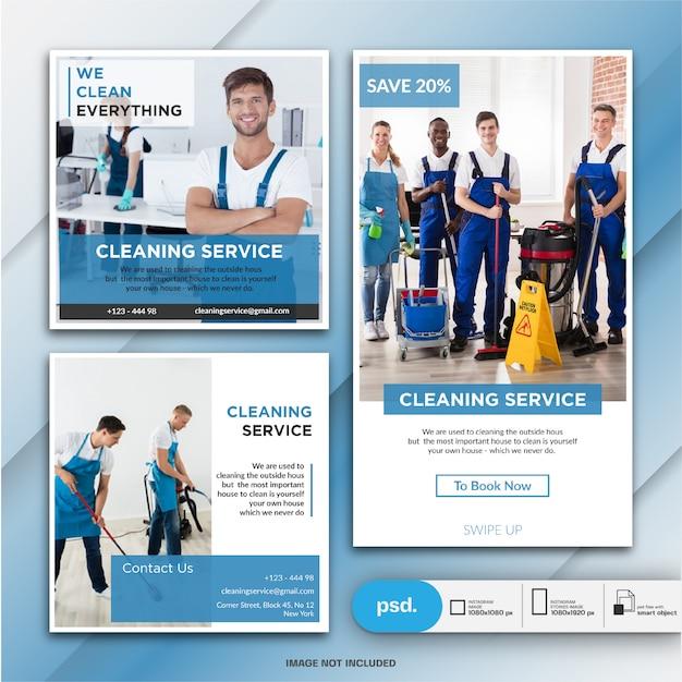 Raccolta banner servizio di pulizia Psd Premium