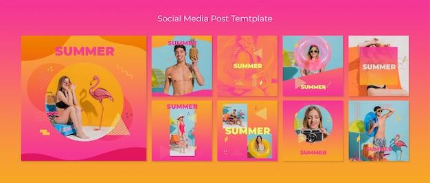 Raccolta di modelli di post social media in stile memphis con il concetto di estate Psd Gratuite