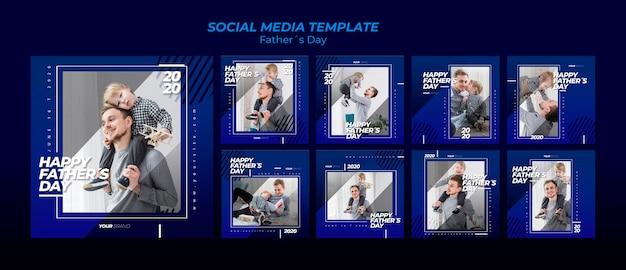 Raccolta di modelli di post sui social media per la festa del papà Psd Gratuite