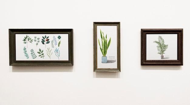 Raccolta di pezzi d'arte foglia su un muro Psd Gratuite