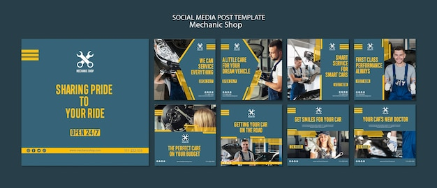 Raccolta di post su instagram per la professione di meccanico Psd Gratuite