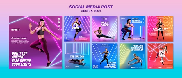 Raccolta di post su instagram per sport ed esercizio fisico Psd Gratuite