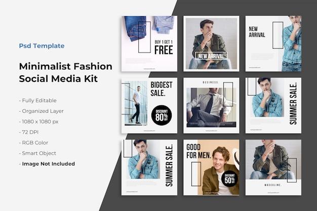 Raccolta di post su instagram sulla moda minimalista Psd Premium