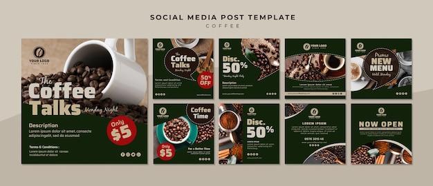 Raccolta di post sui social media del caffè Psd Gratuite