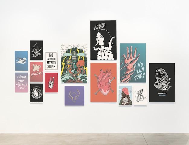 Raccolta di poster motivazionali su un muro Psd Gratuite