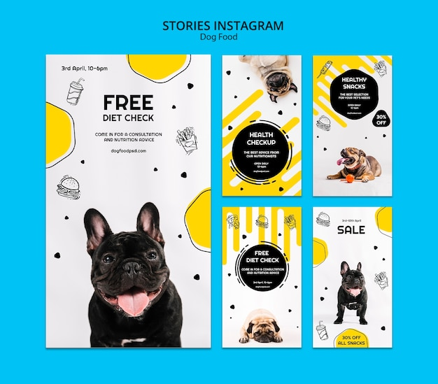 Raccolta di storie di instagram di cibo per cani Psd Gratuite