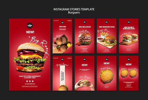 Raccolta di storie di instagram per il ristorante di hamburger Psd Gratuite