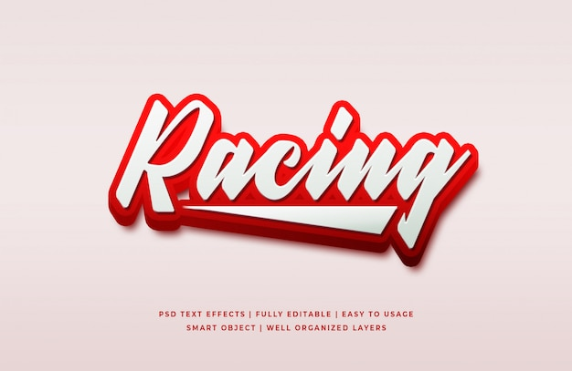 Racing efecto de estilo de texto en 3d psd premium PSD Premium