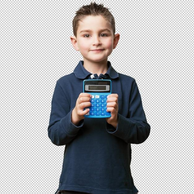 Ragazzino con calcolatrice Psd Premium