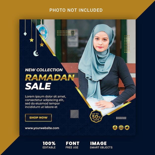 Ramadan fashion sale social media post banner ontwerpsjabloon Premium Psd