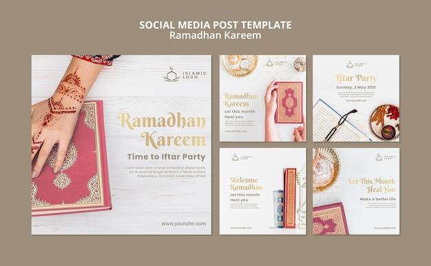 Ramadan instagram postsjabloon met foto Gratis Psd