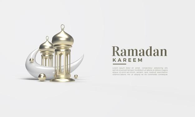 Ramadan kareem 3d render met klassieke kroonluchter en wassende maan Premium Psd