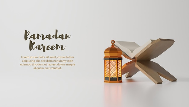 Ramadan kareem-achtergrond met gouden lamp en tekst Premium Psd