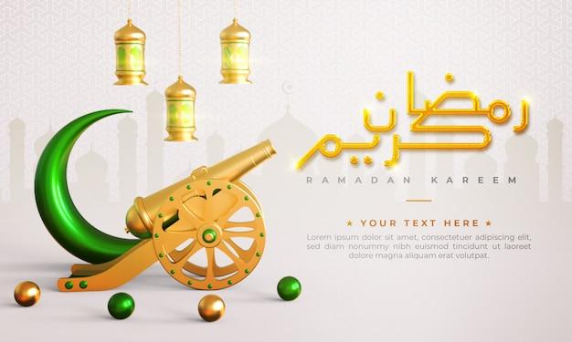 Ramadan kareem islamitische begroeting achtergrond met kanon, halve maan, lantaarn en arabische patroon en kalligrafie Premium Psd