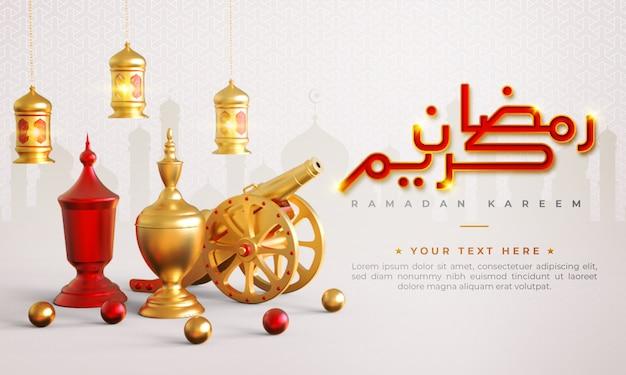 Ramadan kareem islamitische begroeting achtergrond met kanon, lantaarn en arabische patroon en kalligrafie Premium Psd
