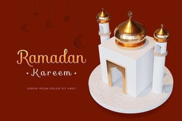 Ramadan kareem-ontwerp met 3d-rendering mockup Premium Psd