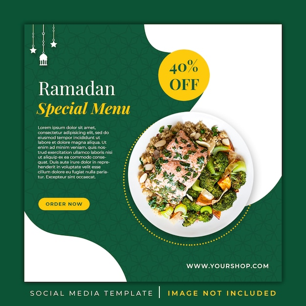 Ramadan speciaal menu voedsel sjabloon voor spandoek Premium Psd