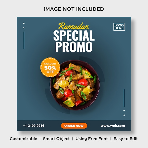 Ramadan speciale promo voedselkorting menu promotie sociale media instagram postbannermalplaatje Premium Psd
