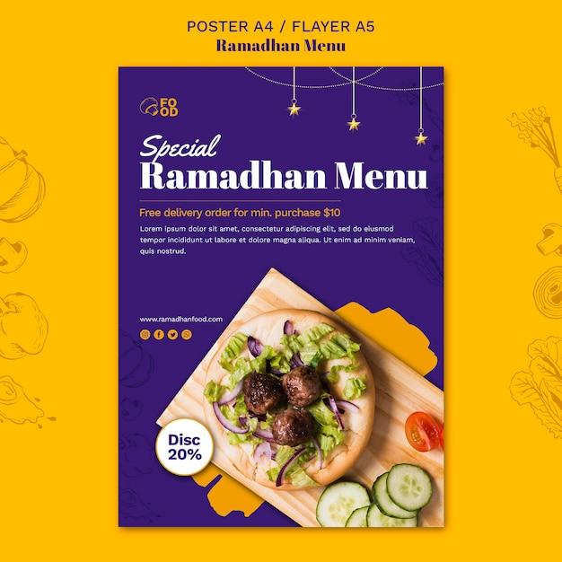 Ramadhan menu poster stijl Gratis Psd