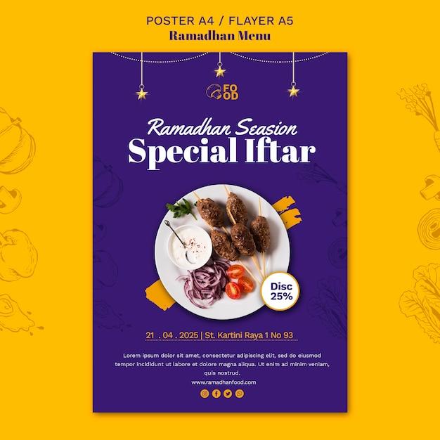 Ramadhan menu poster Gratis Psd