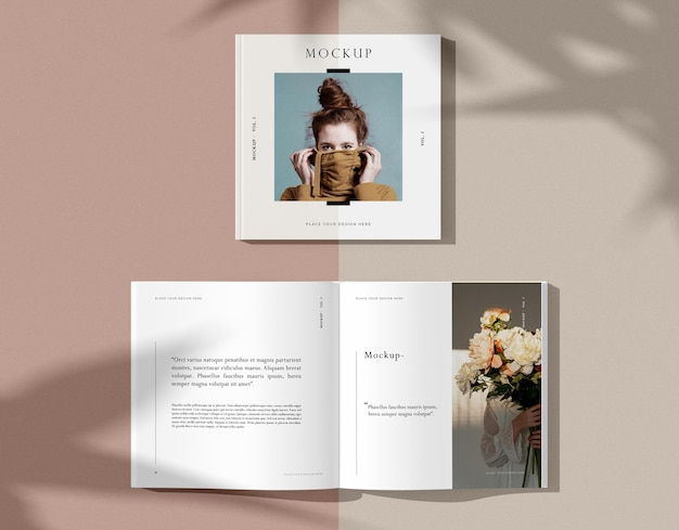 Ramo de flores y maqueta de revista editorial de mujer PSD gratuito
