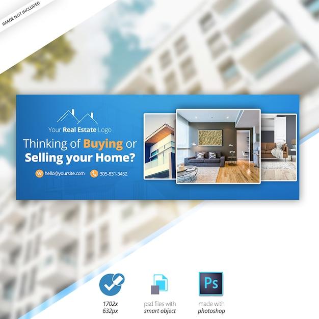 Real estate facebook timeline cover banner Psd Premium