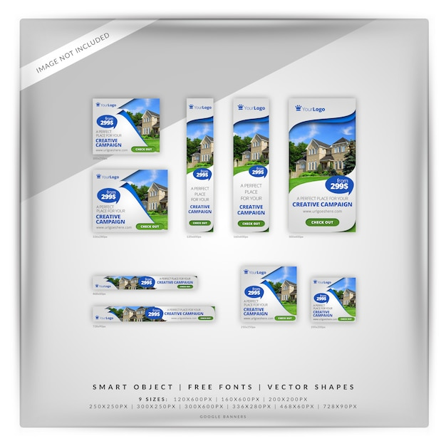 Real estate google banner set PSD Premium