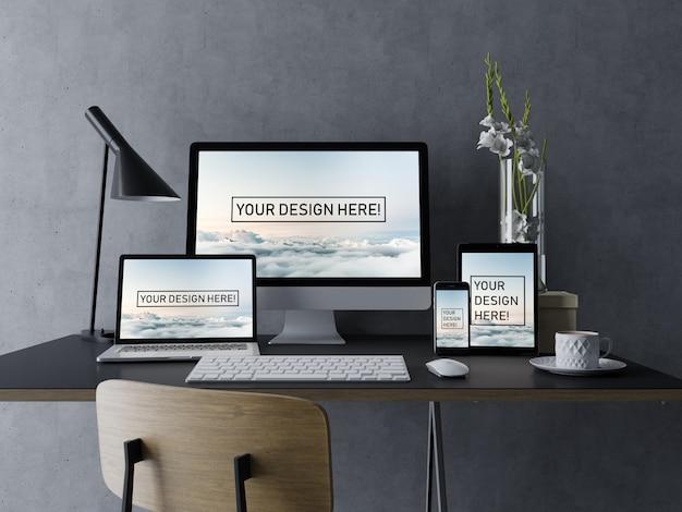 Realista: set de pc de escritorio, portátil, tableta, teléfono móvil, maqueta, plantilla de diseño con pantalla editable en el moderno espacio de trabajo PSD Premium