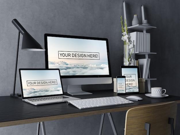 Realista: set de plantilla de diseño de computadora de escritorio, computadora portátil, tableta y teléfono inteligente con pantalla editable en espacio de trabajo interior moderno negro PSD Premium