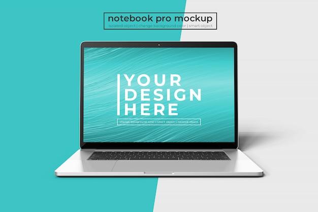 Realistic premium 15 inch notebook pro para web, ui y aplicación photoshop maqueta en vista frontal PSD Premium
