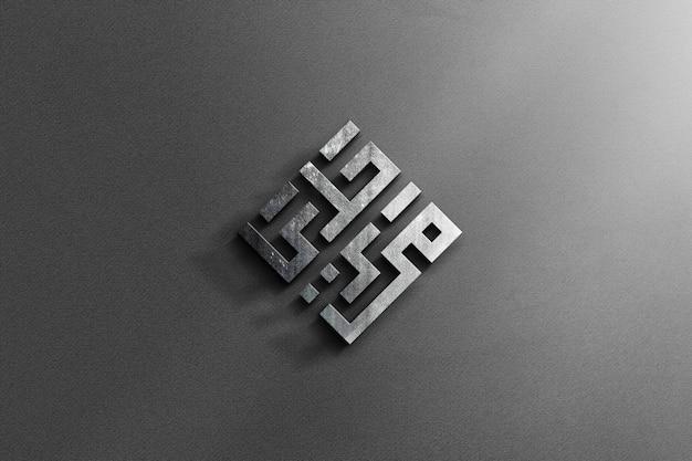 Realistico 3d logo in acciaio mockup con grey texture background Psd Premium