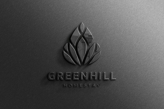 Realistisch 3d-bedrijf zwart glanzend logo-mockup met reflectie Premium Psd
