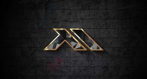 Realistisch 3d-logo mockup op de muur Premium Psd