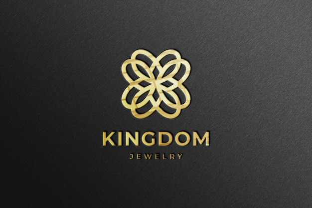 Realistisch gouden bedrijfslogo mockup met reflectie Premium Psd
