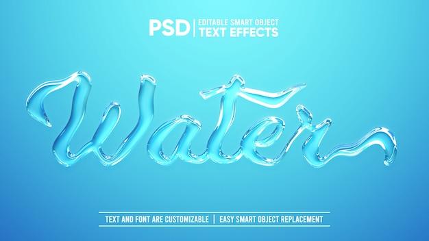 Realistisch helder water 3d bewerkbaar slim object teksteffect Premium Psd
