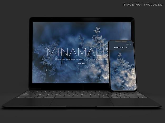 Realistisch modelontwerp voor laptop en smartphone Premium Psd