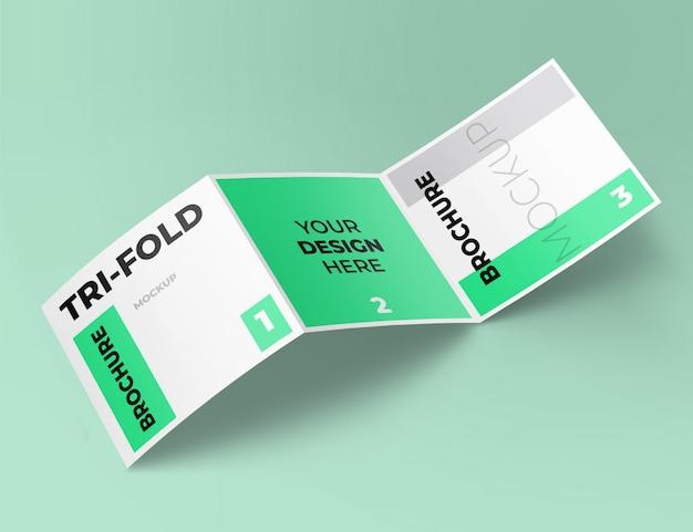 Realistisch vierkant driebladig brochuremodel Premium Psd