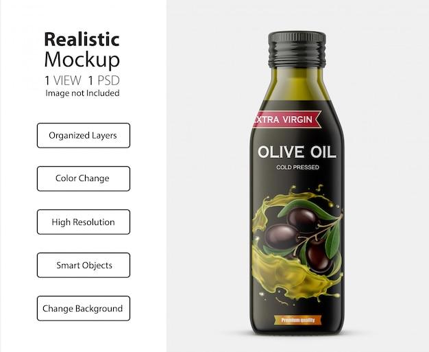 Realistisch vooraanzicht van olijfolieflesmodel Premium Psd