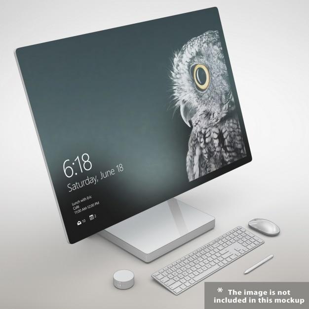 Realistische beeldscherm presentatie Gratis Psd